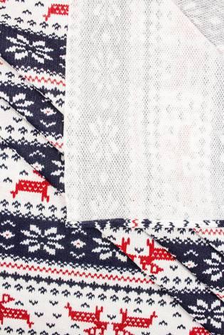 Dresówka pętelka nadruk świąteczny - reniferki - 180cm  160g/m2 thumbnail