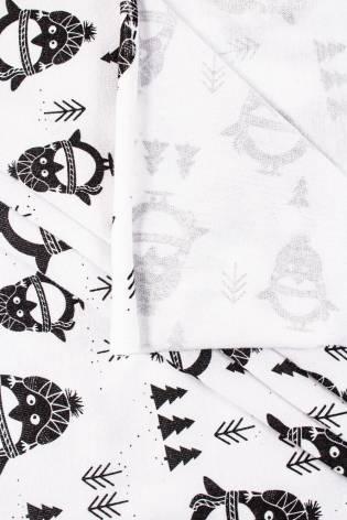 Dzianina jersey bawełniany - świąteczne pingwinki - 180cm 150g/m2 thumbnail