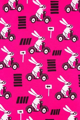 Dresówka pętelka różowa w króliczki - 165cm 250g/m2 thumbnail