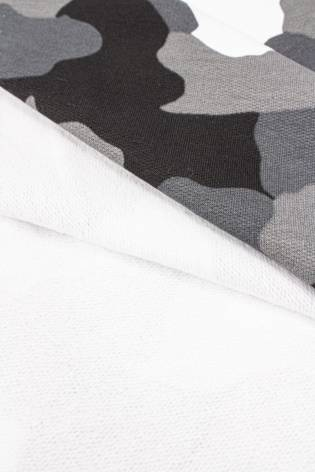 Knit - French Terry - Black, White & Grey Camo - 170 cm - 320 g/m2 thumbnail