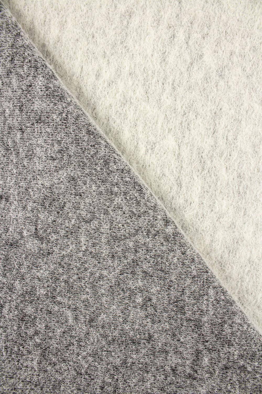 Tkanina wełna parzona dwustronna śmietankowy/szary melanż - 150cm 360g/m2
