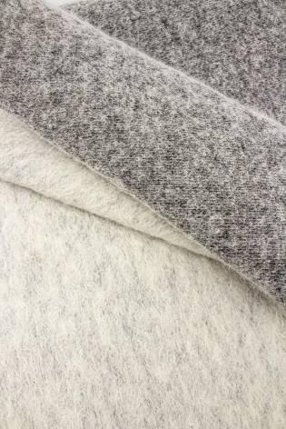 Tkanina wełna parzona dwustronna śmietankowy/szary melanż - 150cm 360g/m2 thumbnail