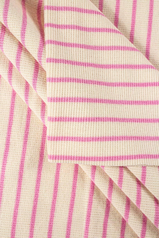 Knit - Welt - Ribbed - Ecru/Pink Stripes - 50 cm/100 cm - 260 g/m2