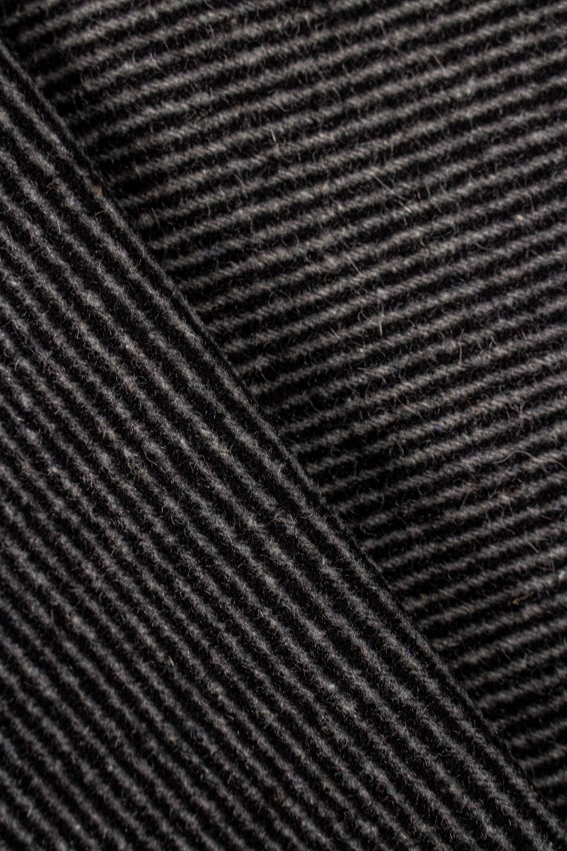 Tkanina wełniana w paski czarno-szare - 150cm 360g/m2