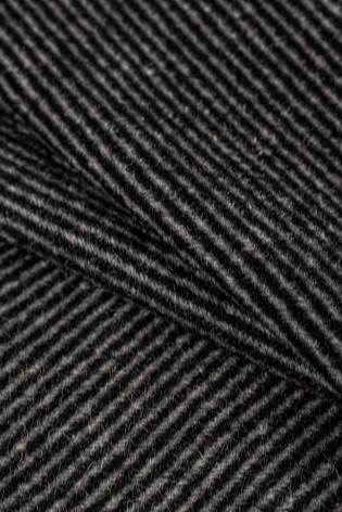 Tkanina wełniana w paski czarno-szare - 150cm 360g/m2 thumbnail