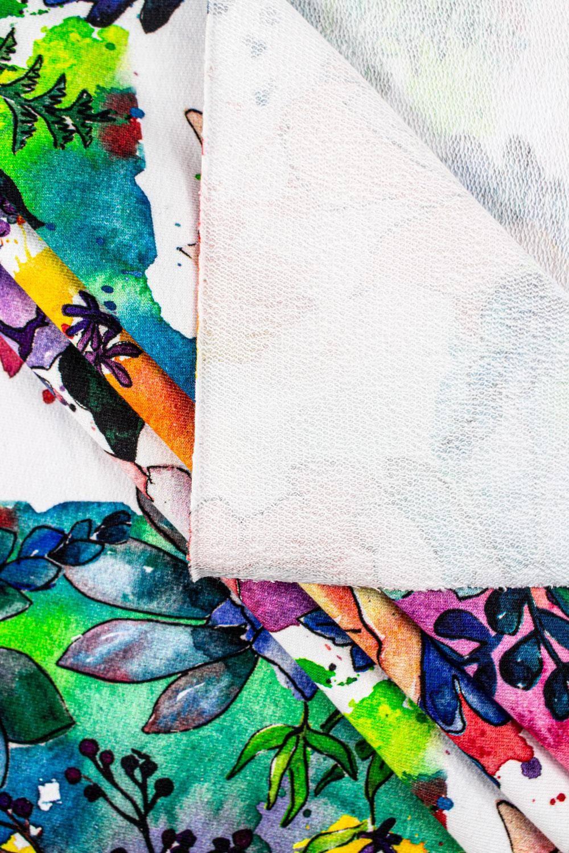 Dresówka pętelka nadruk cyfrowy - kolorowe kwiaty - 185cm 270g/m2