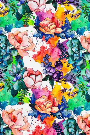 Dresówka pętelka nadruk cyfrowy - kolorowe kwiaty - 185cm 270g/m2 thumbnail