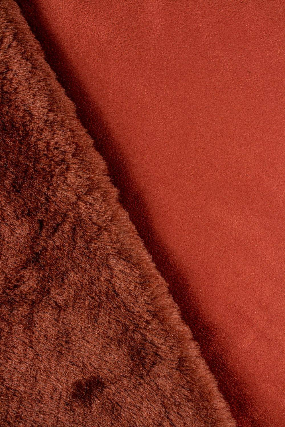 Fabric - Eco Fur With Suede Underside - Copper/Brick Colour - 140 cm - 660 g/m2