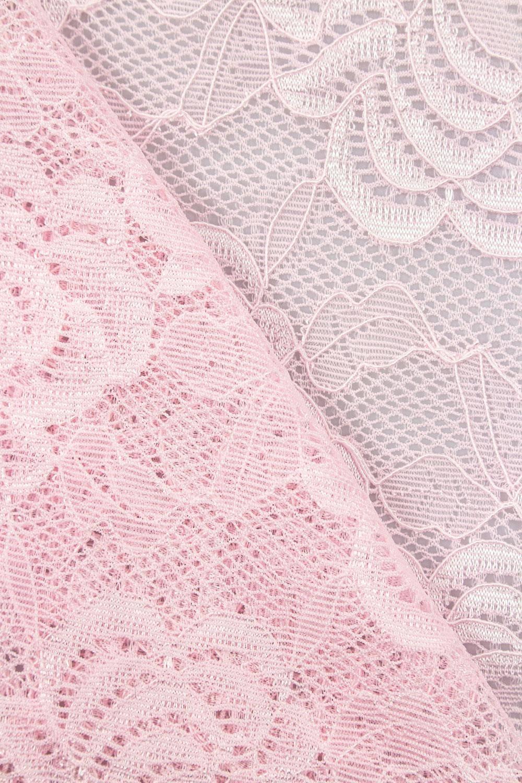 Tkanina koronka w kwiaty - różowa - 150cm 170g/m2