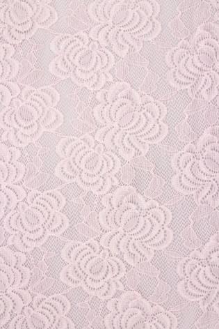 Tkanina koronka w kwiaty - różowa - 150cm 170g/m2 thumbnail