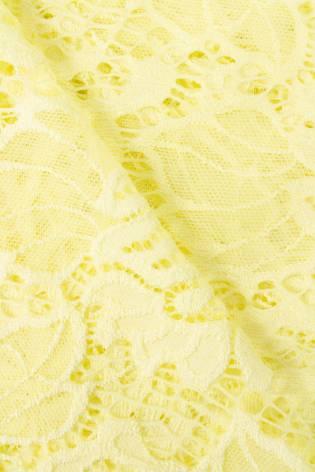 Tkanina koronka w kwiaty - żółty - 150cm 170g/m2 thumbnail