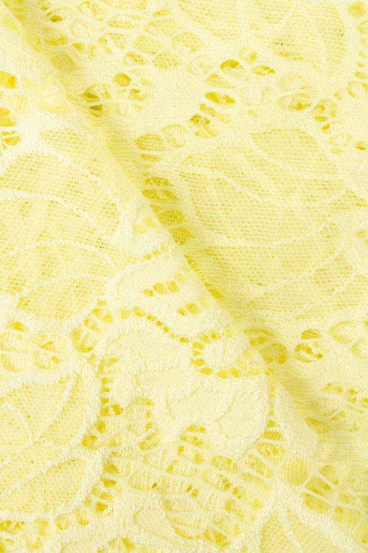 Tkanina koronka w kwiaty - żółty - 150cm 170g/m2