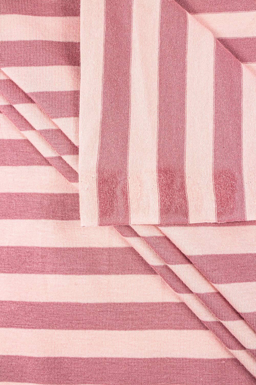 Dzianina jersey w paski różowo/cieliste - 190cm 200g/m2