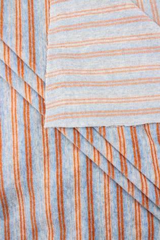 Dzianina welurowa w pomarańczowe paski - 180cm 270g/m2 thumbnail