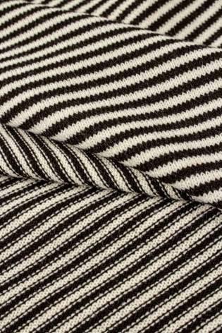 Dzianina sweterkowa beżowa w brązowe paski - 160cm 200g/m2 thumbnail