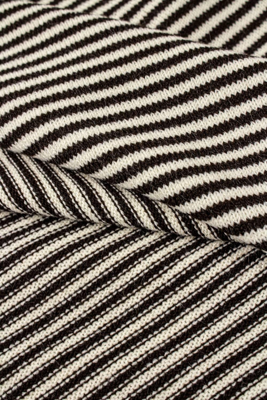 Dzianina sweterkowa beżowa w brązowe paski - 160cm 200g/m2