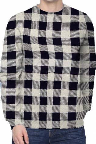 Knit - French Terry - White With Navy Blue Checkered Pattern - 185 cm - 220 g/m2 thumbnail