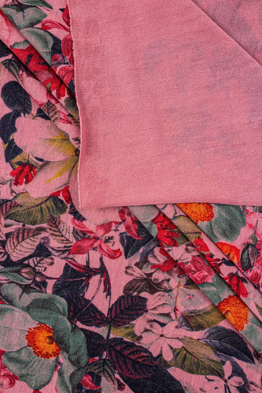 Dzianina jersey elanobawełna - różowy z nadrukiem sublimacyjnym kwiatów - 160cm 180g/m2