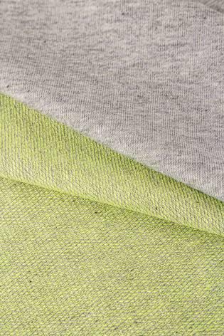 Dzianina dresowa pętelka szary melanż z zielonym spodem - 185cm 250g/m2 thumbnail