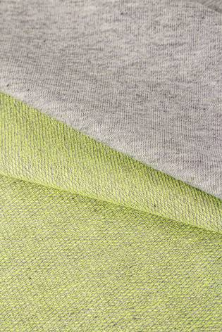 Knit - French Terry - Grey Melange with Lime Underside - 185 cm - 250 g/m2 thumbnail