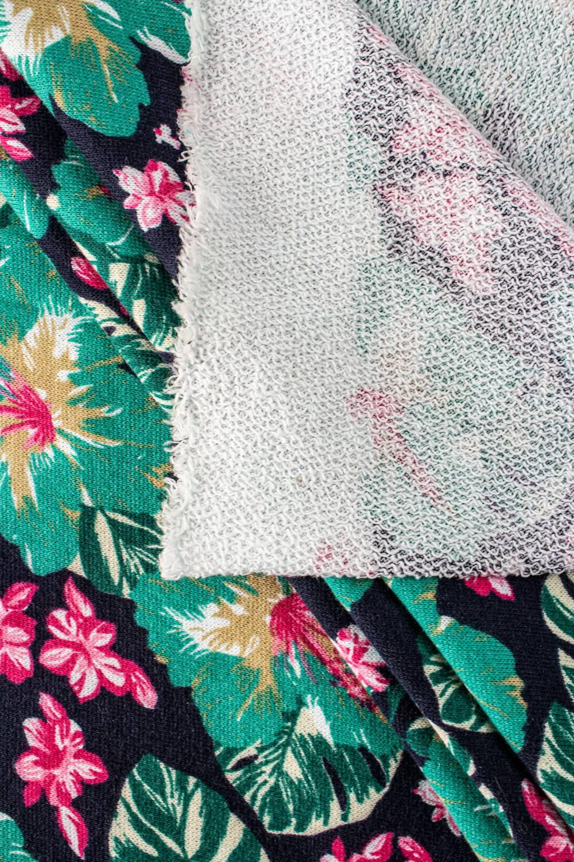 Dresówka pętelka w zielone kwiaty - 150cm 240g/m2
