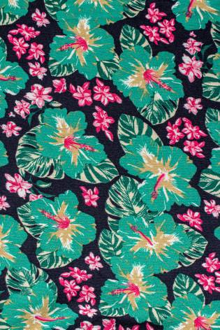 Dresówka pętelka w zielone kwiaty - 150cm 240g/m2 thumbnail