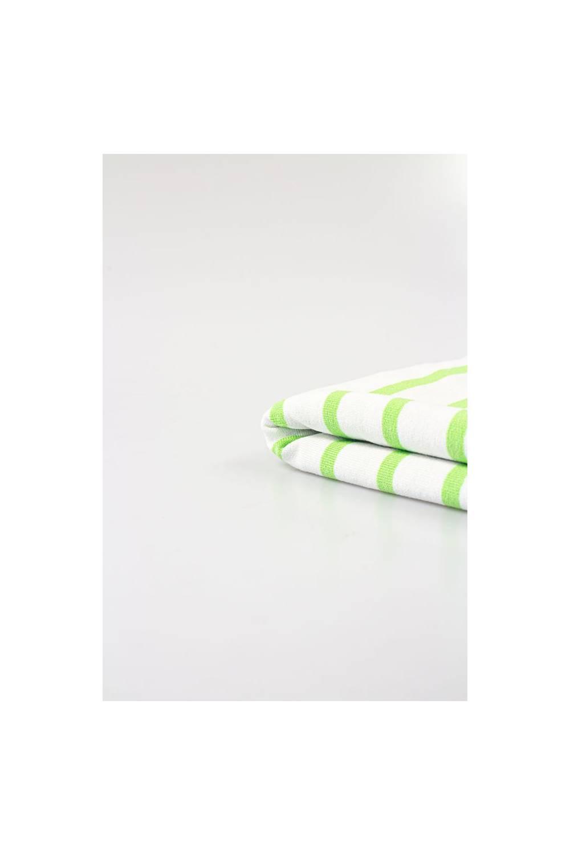 Dzianina dresowa wiskozowa biała w zielone paski - 175cm  230g/m2