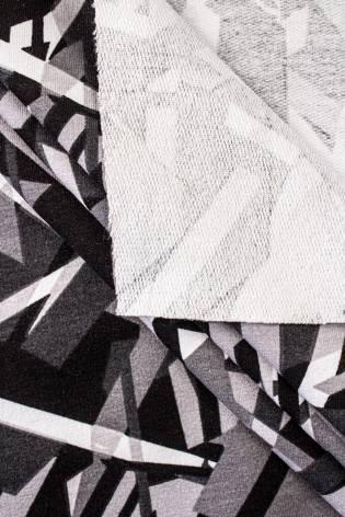 Dresówka pętelka z nadrukiem szaro-czarnym geometryczny - 180cm 230g/m2 thumbnail