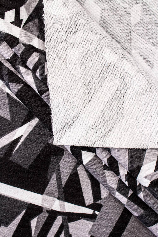 Dresówka pętelka z nadrukiem szaro-czarnym geometryczny - 180cm 230g/m2