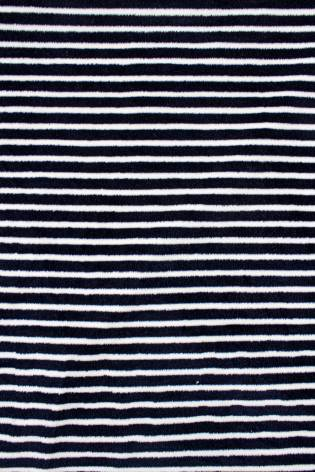 Knit - Velour - White & Navy Blue Stripes - 180 cm - 260 g/m2 thumbnail