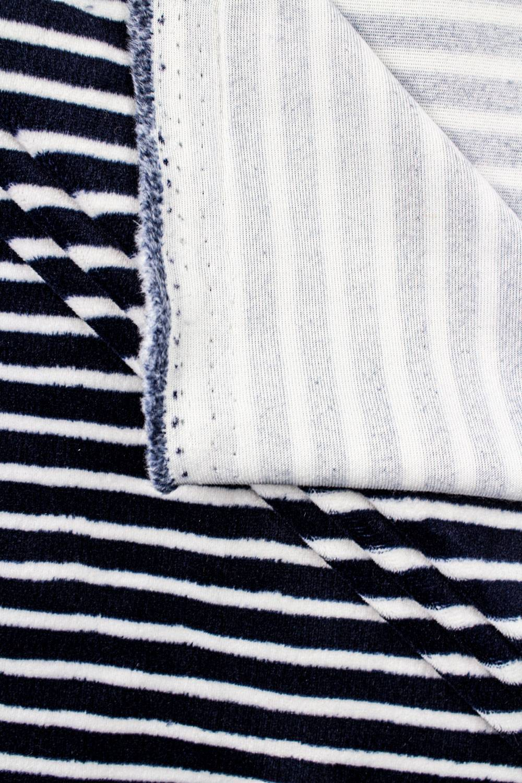 Knit - Velour - White & Navy Blue Stripes - 180 cm - 260 g/m2