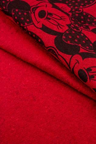 Dresówka drapana myszka minie czerwony - 100cm/200cm 310g/m2 thumbnail