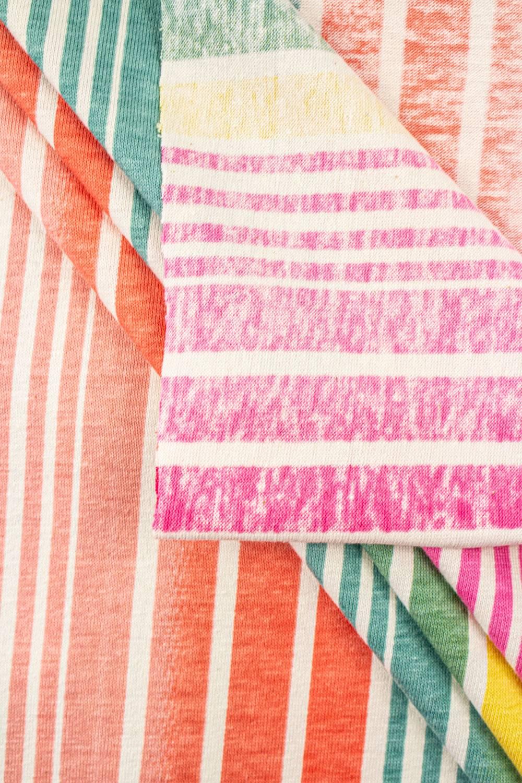 Dzianina jersey bawełniany w kolorowe paski - 150cm 180g/m2