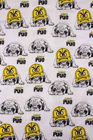Knit - Jersey - White With Pugs - 180 cm - 170 g/m2 thumbnail