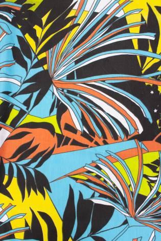 Dzianina dresowa pętelka z nadrukiem - kwiaty/liście - 185cm 250g/m2 thumbnail