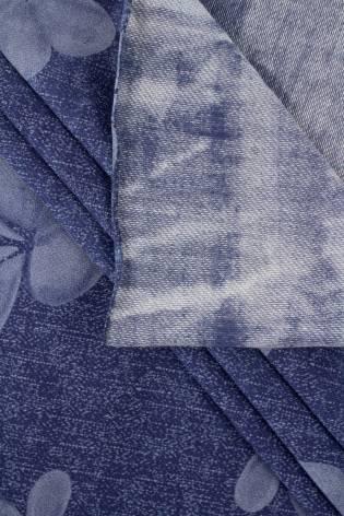 Dzianina wiskozowa a'la jeans w kwiaty - 150cm 160g/m2 thumbnail