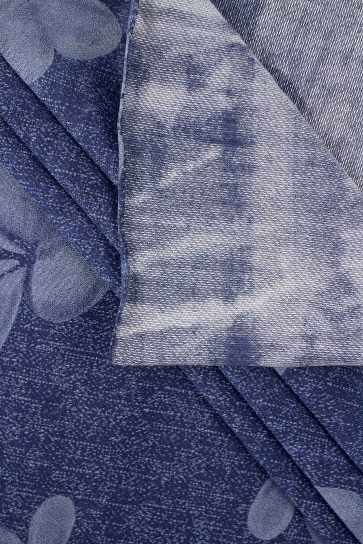 Dzianina wiskozowa a'la jeans w kwiaty - 150cm 160g/m2