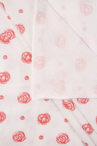 Dzianina jersey biała w małe różyczki - 165cm 160g/m2 thumbnail