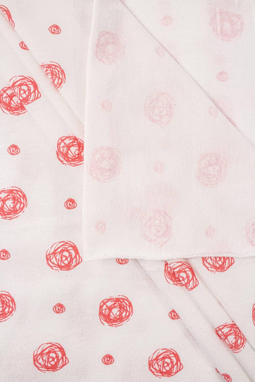 Dzianina jersey biała w małe różyczki - 165cm 160g/m2