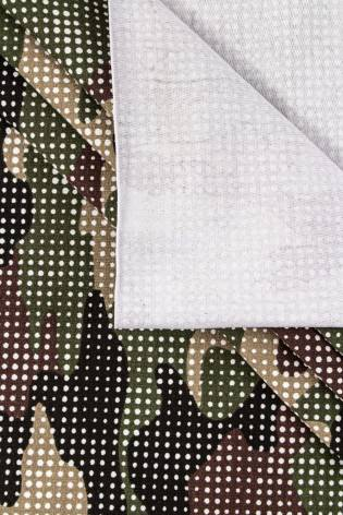 Dzianina dresowa pętelka - kropkowane moro zielone - 180cm 250g/m2 thumbnail
