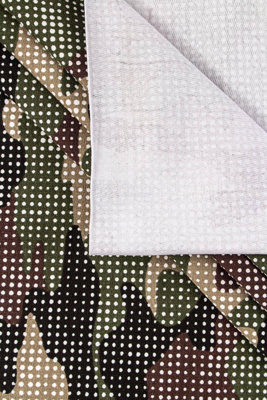 Dzianina dresowa pętelka - kropkowane moro zielone - 180cm 250g/m2