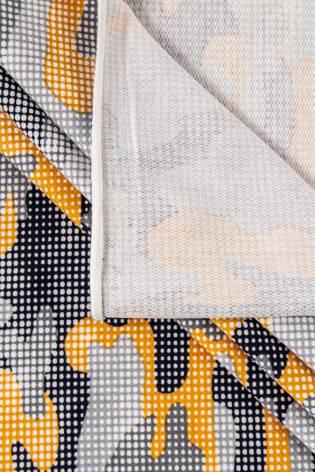 Dzianina dresowa pętelka - kropkowane moro żółte - 190cm 220g/m2 thumbnail