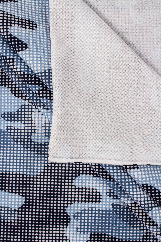 Dzianina dresowa pętelka - kropkowane moro niebieski - 190cm 230g/m2