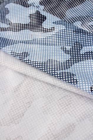 Dzianina dresowa pętelka - kropkowane moro niebieski - 190cm 230g/m2 thumbnail