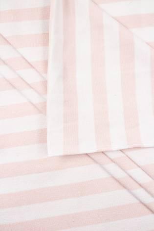 Knit - Viscose Jersey - White & Salmon Pink Stripes - 190 cm - 180 g/m2 thumbnail
