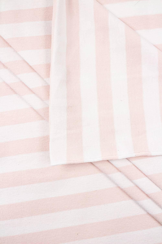 Knit - Viscose Jersey - White & Salmon Pink Stripes - 190 cm - 180 g/m2