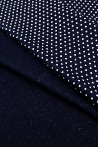 Dzianina jersey wiskozowy granatowy w drobne kropki - 180cm 200g/m2 thumbnail