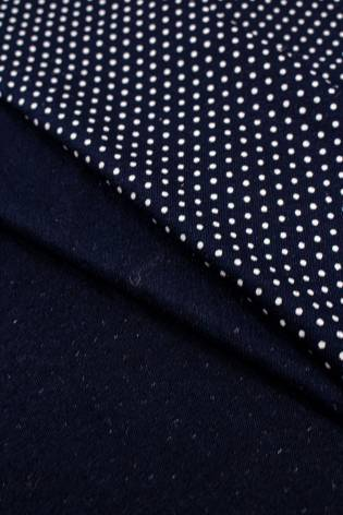 Knit - Viscose Jersey - Navy Blue With White Dots - 180 cm - 200 g/m2 thumbnail