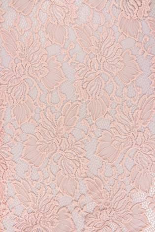 Tkanina koronka w kwiaty - różowy - 150cm 150g/m2 thumbnail