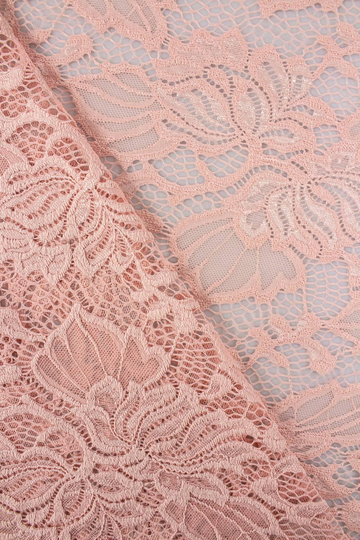 Tkanina koronka w kwiaty - różowy - 150cm 150g/m2